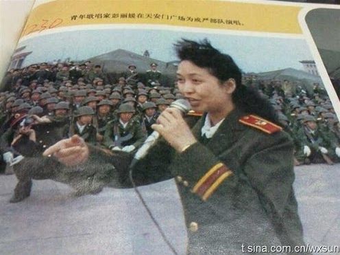 Evil Chinese cunt Peng Liyuan rejoicing after the Tiananmen massacre 1989