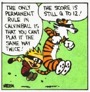 Calvin and his toy tiger Hobbes play Calvinball while running and wearing masks
