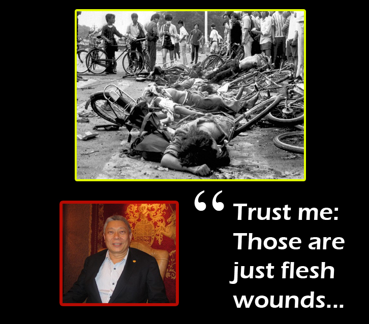 Chinese corpses at Tiananmen Square Massacre. Tsai Eng-meng says,