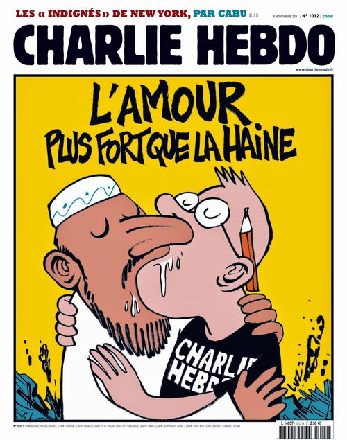 A gay prophet Mohammed passionately kisses a Charlie Hebdo cartoonist (from a Charlie Hebdo magazine cover)