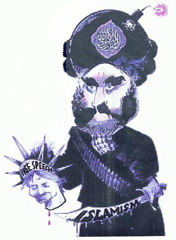 Mohammed cartoon: The 'prophet' Mohammed with a bomb in his turban, a scimitar in one hand, and a decapitated head in the other (labeled, 'Free Speech')