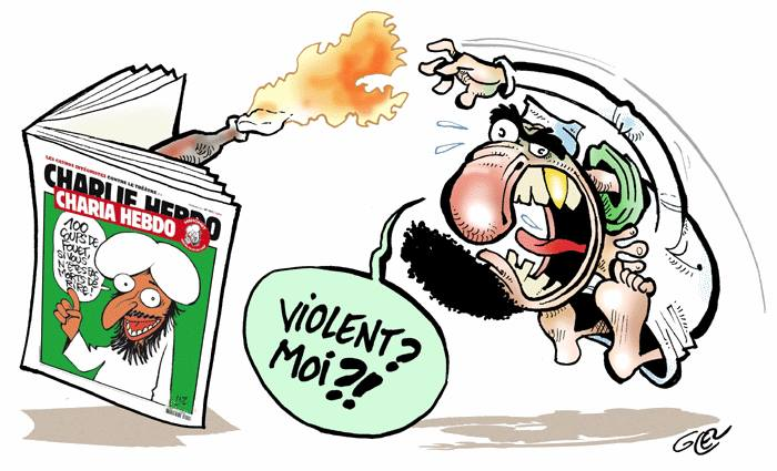 Mohammed cartoon: Muslim throwing Molotov cocktail at Charlie Hebdo magazine while screaming, 'Violent? Moi?!'
