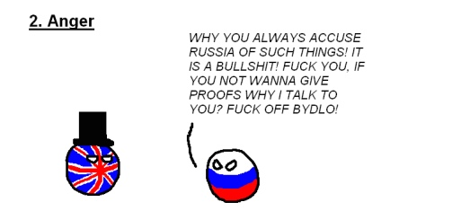 The five stages of arguing with a Russian nationalist (#2: Anger). RUSSIAN: 'WHY YOU ALWAYS ACCUSE RUSSIA OF SUCH THINGS! IT IS A BULLSHIT! FUCK YOU, IF YOU NOT WANNA GIVE PROOFS WHY I TALK TO YOU? FUCK OFF BYDLO!'