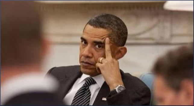 Barack Obama tells subordinates to fuck off during meeting by extending middle finger.