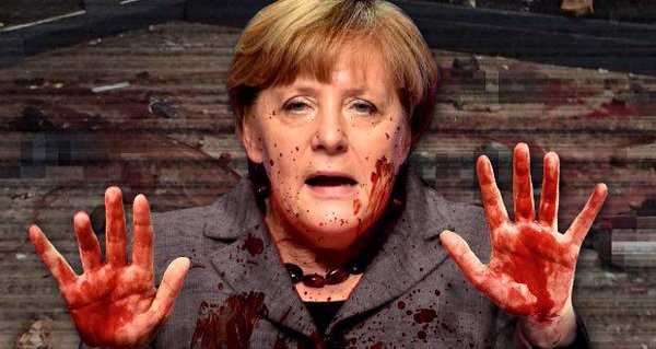 Angela Merkel with blood on her hands and face.