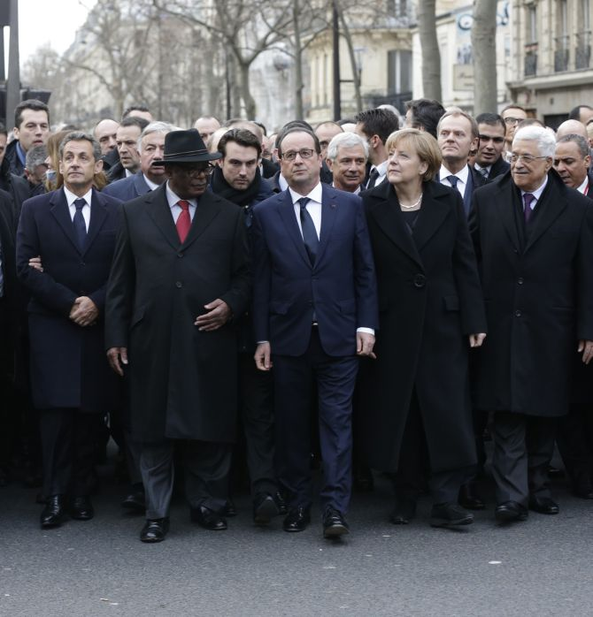 Paris march to honor free speech martyrs of the Charlie Hebdo massacre. From left to right: Nicolas Sarkozy, Malian President Ibrahim Keita, French President Francois Hollande, German Chancellor Angela Merkel and Palestinian President Mahmoud Abbas.