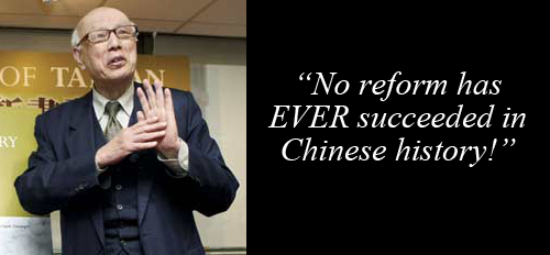 Joe Hung from Taiwan's China Post: 'No reform has EVER succeeded in Chinese history.'