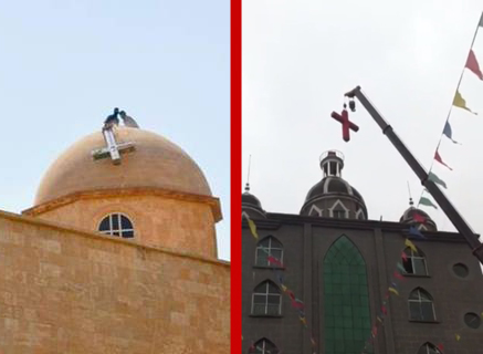 ISIS and Chinese Communist Party remove crosses from Christian churches.
