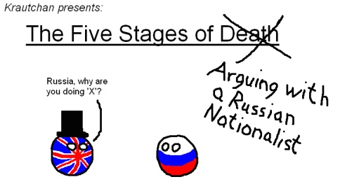 The five stages of arguing with a Russian nationalist. BRIT: 'Russia, why are you doing X?'