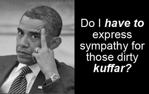 Barack Obama with extended middle finger: 'Do I HAVE TO express sympathy for those dirty kuffar?'