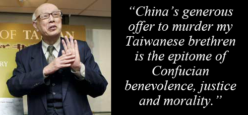 Joe Hung: 'China's generous offer to murder my Taiwanese brethren is the epitome of Confucian benevolence, justice and morality.'