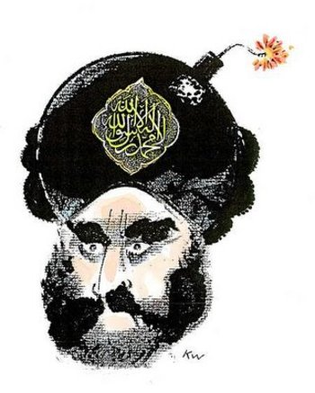Mohammed cartoon with lit bomb in turban