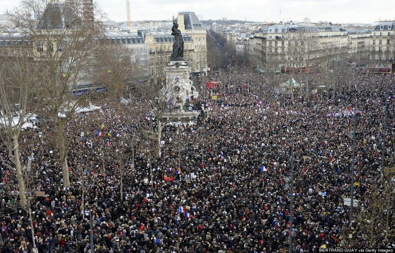 A staggering number of people attending the Paris Unity March after the Charlie Hebdo massacre.