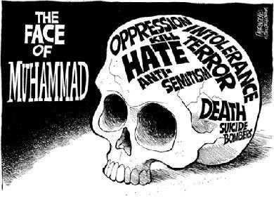Mohammed cartoon: The face of Mohammed (Illustration of a skull labeled, 'Oppression', 'Kill', 'Hate', 'Anti-Semitism', 'Intolerance', 'Terror', 'Death', 'Suicide bombers')