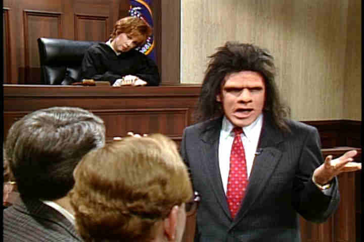 Saturday Night Live: Phil Hartman before a jury wearing a fine suit and hideous makeup, playing Unfrozen Caveman Lawyer
