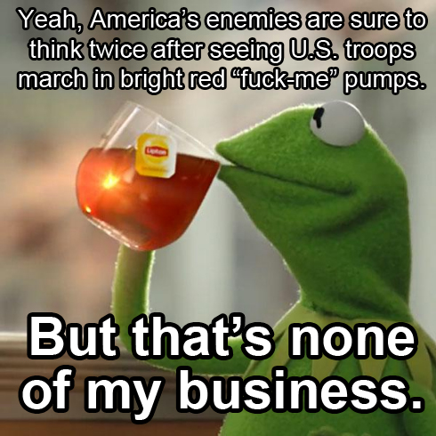 Kermit the Frog drinking Lipton Iced Tea: Yeah, America's enemies are sure to think twice after seeing U.S. troops march in bright red 'fuck-me' pumps. But that's none of my business.
