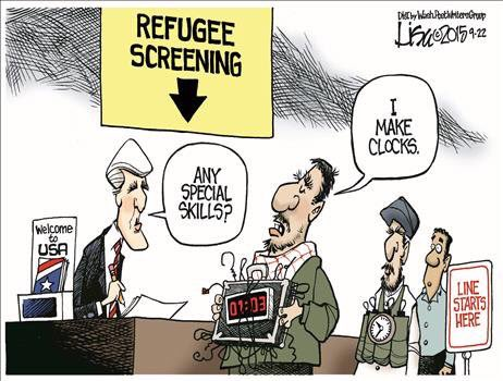 Cartoon. JOHN KERRY (at immigration desk): 'Any special skills?' MUSLIM TERRORIST (with suitcase with numerous wires dangling out of it): 'I make clocks!'