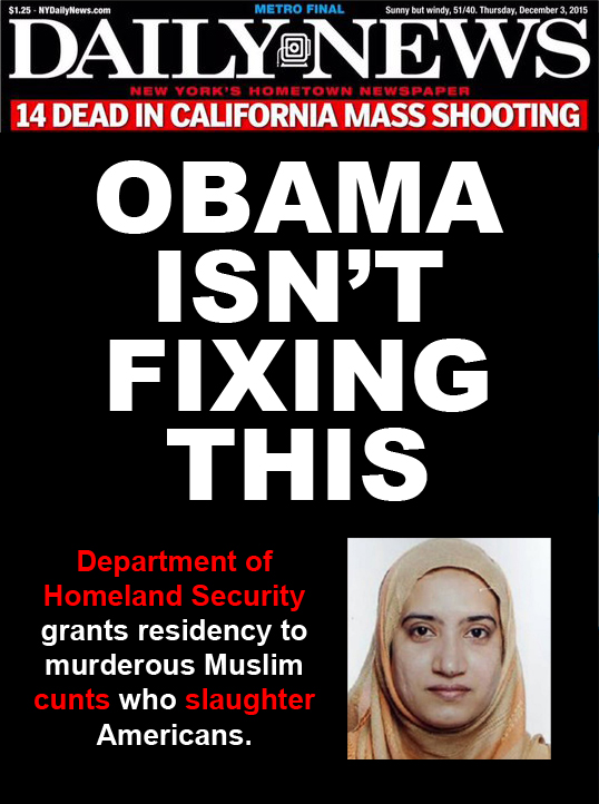 Daily News Headline: 'OBAMA ISN'T FIXING THIS', with image of San Bernadino terrorist Tashfeen Malik and sub-headline: 'Department of Homeland Security grants residency to murderous Muslim cunt who slaughters Americans.'